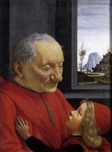Domenico Ghirlandaio: vieillard et son petit fils. Vers 1490. Tempera sur bois, 62 x 46cm. Paris, musée du Louvre