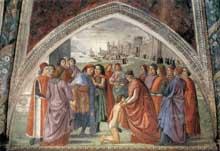 Saint François renonce aux biens terrestres. 1482-1485. Fresque de la chapelle Sasseti à Santa Trinita de Florence