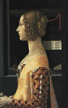 Domenico Ghirlandaio. Portrait de Giovanna Tornabuoni.1488. Tempera sur bois, 76 x 50 cm. Madrid, Musée Thyssen-Bornemisza