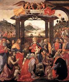 Domenico Ghirlandaio. Adoration des mages. 1488. Tempera sur bois, 285 x 240 cm.Hôpital des Innocents, Florence