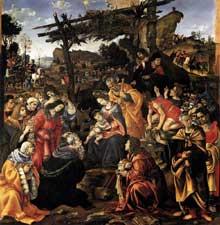Filippino Lippi (1457-1504): Adoration des Mages. 1496.Huile sur bois, 258 x 243 cm.  Florence, galerie des Offices. (Histoire de l'art - Quattrocento