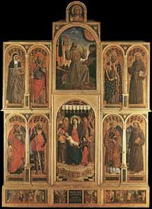 Vincenzo Foppa (1427-1516)�: Retable de Santa Maria delle Grazie de Bergame. 1476. Tempera sur bois. Milan, Pinacoth�que de la Brera. (Histoire de l�art - Quattrocento