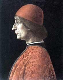 Vincenzo Foppa (1427-1516): Portrait de Francesco Brivio. Bois. Milan, museo Poldi Pezzoli. (Histoire de l'art - Quattrocento