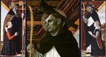Ambrogio da Fossano dit «Il Bergognone» (1453-1523): Polyptyque: Saint Pierre avec une donatrice à genoux (panneau droit, ensemble et détail); saint Augustin et un donateur agenouillé (panneau gauche). Paris, musée du Louvre. (Histoire de l'art - Quattrocento