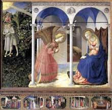 Fra Angelico (1387-1455): l'annonciation. 1430-1432. Tempera sur bois, 194 x 194 cm. Madrid, muse du Prado. (Histoire de l'art - Quattrocento