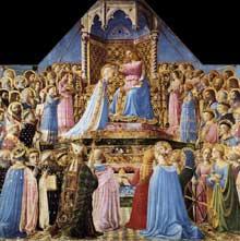 Fra Angelico (1387-1455): le couronnement de la vierge. Tempera sur panneau, 213 x 211 cm. Paris, musée du Louvre. (Histoire de l'art - Quattrocento