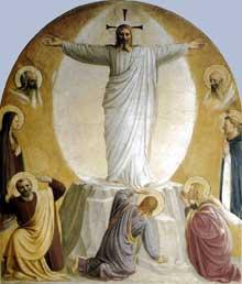Guido di Pietro, dit Fra Angelico (1387-1455): transfiguration du Christ. 1440-1441. Fresques, 193 x 164 cm. Florence, couvent Saint Marc, étage supérieur. (Histoire de l'art - Quattrocento