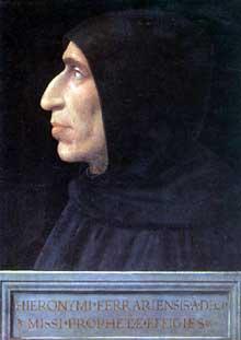 Fra Bartolomeo (1473-1517): Jérôme Savonarole. Vers 1498, 47 x 31 cm. Florence, Musée saint Marc. (Histoire de l'art - Quattrocento