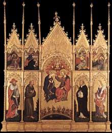 Gentile da Fabriano (1370-1427)�: Couronnement de la Vierge. Vers 1400. Tempera sur panneau. Milan, Pinacoth�que de la Brera. (Histoire de l�art - Quattrocento