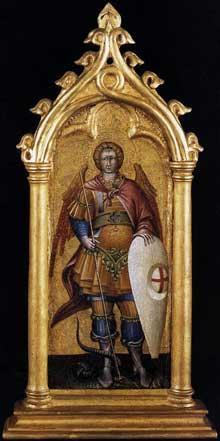 Giovanni di Paolo (1399-1482): Saint Michel Archange. 1440. Tempera et or sur bois, 19 x 8 cm. Vatican, Pinacothèque. (Histoire de l'art - Quattrocento