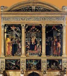 Andr�a Mantegna (1431-1506)�: le polyptique de San Zeno. 1457-1460. Tempera sur panneau, 480 x 450 cm. V�rone, basilique san Zeno. (Histoire de l�art - Quattrocento