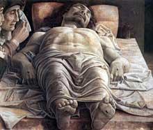 Andr�a Mantegna (1431-1506)�: Le Christ mort. 1490. Tempera sur toile, 68 x 81 cm. Milan, Pinacoth�que de la Brera. (Histoire de l�art - Quattrocento