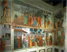 Tommaso Cassai dit Masaccio (1401-1428): fresques de la chapelle Brancacci, partie gauche. 1426-1482 (Achevées par Filippino Lippi). Florence, église Santa Maria del Carmine. (Histoire de l'art - Quattrocento