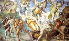 Matteo da Lecce: la défense du corps de Moïse. Vers 1574. Fresque. Chapelle Sixtine, Vatican