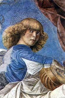Melozzo da Forli (1438-1494): Ange musicien. 1480. Fresque. Vatican, pinacothèque. Originellement dans l'abside des saints Apôtres de Rome. (Histoire de l'art - Quattrocento