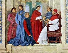 Melozzo da Forli (1438-1494): le pape SixteIV nomme Bartolomeo Platina préfet de la Librairie vaticane. Fresque, vers 1477, musée du Vatican