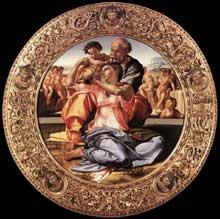 Doni tondo. La sainte Famille avec l'enfant Jean le Baptiste. Vers 1503-1506. Vue d'ensemble. Tempera sur panneau. Diamètre: 120 cm. Galerie des Offices, Florenc