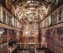 Chapelle Sixtine, Vatican: l'intérieur. 1475-1483 pour les fresques de murs; 1508-1512 pour la voûte; 1535-1541 pour le jugement dernier