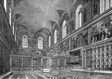 Chapelle Sixtine, Vatican: reconstitution de la chapelle telle qu'elle était sous SixteIV, avant l'intervention de Michel Ange. Gravure de G. Tognetti