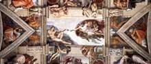 Chapelle Sixtine, Vatican: section de la voûte relatant la création d'Adam