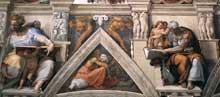 Chapelle Sixtine, Vatican: section longitudinale de la voûte comprenant un voûtain, la figure du prophète Daniel et celle de la sibylle de Cumes