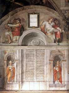 Chapelle Sixtine, Vatican: section du mur avec la galerie des papes et les lunettes des ancêtres du Christ