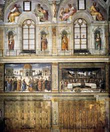 Chapelle Sixtine, Vatican: élévation du mur nord de la chapelle, côté autel: tenture en trompe l'oeil, cycle de la vie du Christ, galerie des papes, lunettes des ancêtres du Christ