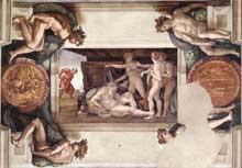 L'ivresse de Noé. 1509. Fresque. Chapelle Sixtine, Vatican