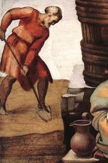 L'ivresse de Noé: détail: Noé plantant la vigne. Pour saint Augustin, Noé est le symbole du Christ outragé. 1509. Fresque. Chapelle Sixtine, Vatican