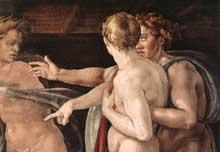 L'ivresse de Noé (détail). 1509. Fresque. Chapelle Sixtine, Vatican