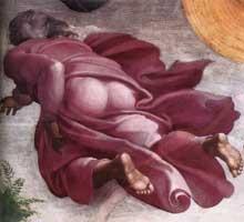 Création du soleil, de la lune et des plantes. 1511. Fresque, 280 x 570 cm. Chapelle Sixtine, Vatican
