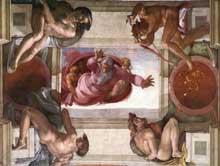 Dieu sépare la terre et les eaux. 1511. Fresque. Chapelle Sixtine, Vatican
