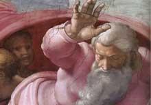 Dieu sépare la terre et les eaux. 1511. Fresque. Chapelle Sixtine, Vatican.les tours et change la direction pendant que vous marchez par la chapelle.