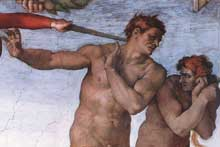 La chute et l'expulsion du jardin d'Eden. 1509-1510. Fresque, 280 x 570 cm. Chapelle Sixtine, Vatican