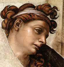 Nu du coin droit inférieur de l'ivresse de Noé (au-dessus de la Sibylle de Delphes). 1509. Détail. Fresque, chapelle Sixtine, Vatican