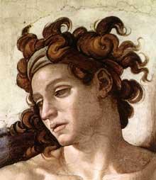 Nu du coin supérieur droit de l'ivresse de Noé (au-dessus de la Sibylle de Delphes). 1509. Détail.Fresque, chapelle Sixtine, Vatican