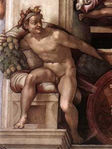 Nu du coin inférieur gauche du sacrifice de Noé (au-dessus du prophète Isaïe). 1509. Fresque, chapelle Sixtine, Vatican
