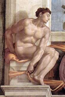 Nu du coin supérieur droit de la création d'Eve (au-dessus du prophète Ezéchiel). 1509-1510. Fresque, chapelle Sixtine, Vatican