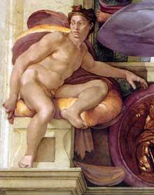 Nu du coin inférieur gauche de la création d'Eve (au-dessus de la Sibylle de Cumes). 1509-1510. Fresque, chapelle Sixtine, Vatican