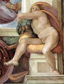 Nu du coin inférieur droit de la création d'Eve (au-dessus de la Sibylle de Cumes). 1509-1510. Fresque, chapelle Sixtine, Vatican