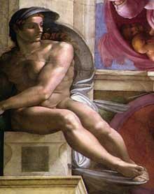 Nu du coin supérieur droit de la séparation de la terre et des eaux (au-dessus de la Sibylle de Perse). 1511. Fresque, chapelle Sixtine, Vatican