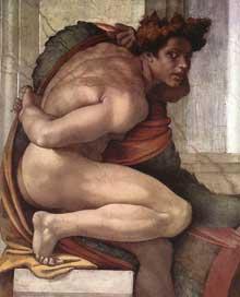 Nu du coin inférieur gauche de la séparation de la terre et des eaux (au-dessus du prophète Daniel). 1511. Fresque, chapelle Sixtine, Vatican