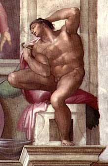Nu du coin inférieur droit de la séparation du jour et de la nuit (au-dessus de la Sibylle de Libye). 1511. Fresque, chapelle Sixtine, Vatican
