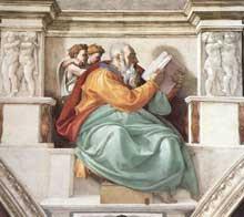 Le prophète Zacharie. 1509. Fresque entre les deux pendentifs surmontant l'entrée de la chapelle, 360 x 390 cm. Chapelle Sixtine, Vatican