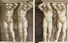 Le prophète Joël. Détail: putti entourant le prophète. 1509. Fresque de la neuvième section de la voûte, 355 x 380 cm. Chapelle Sixtine, Vatican