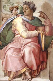 Le prophète Isaïe. 1509. Fresque de la septième section de la voûte, 365 x 380 cm. Chapelle Sixtine, Vatican