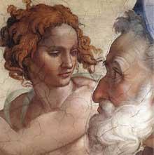 Le prophète Ezéchiel. 1510. Fresque de la cinquième section de la voûte, 355 x 380 cm. Chapelle Sixtine, Vatican
