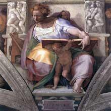 Le prophète Daniel. 1511. Fresque de la troisième section de la voûte, 395 x 380 cm. Chapelle Sixtine, Vatican