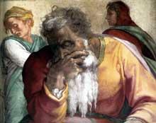 Le prophète Jérémie. 1511. Fresque de la première section de la voûte, 390 x 380 cm. Chapelle Sixtine, Vatican