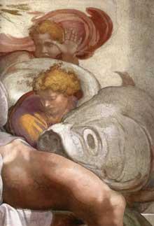 Le prophète Jonas. 1511. Fresque entre les pendentifs surmontant l'autel, 400 x 380 cm. Chapelle Sixtine, Vatican